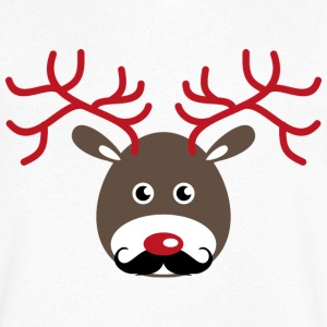 Rudolf reindeer with antlers and a beard T-Shirts - Men's V-Neck T-Shirt