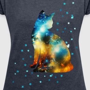 Space Pussy on the Milky Way, Galaxy, Cat, Star T-Shirts - Women's T-shirt with rolled up sleeves