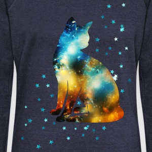 Space Pussy on the Milky Way, Galaxy, Cat, Star Hoodies & Sweatshirts - Women's Boat Neck Long Sleeve Top