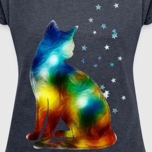 Space Cat on the Milky Way, Galaxy, Pussy, Star T-Shirts - Women's T-shirt with rolled up sleeves
