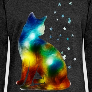 Space Cat on the Milky Way, Galaxy, Pussy, Star Gensere - Damegenser med båthals fra Bella