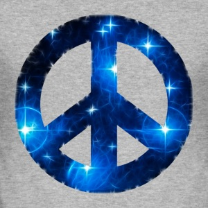 Space Peace sign, star, galaxy, light, universe,   - Männer Slim Fit T-Shirt