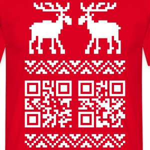 Rot Ugly Christmas Sweater QR Code Happy New Year! T-Shirts - Männer T-Shirt