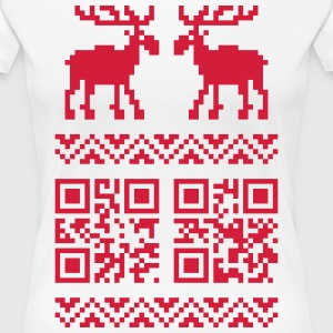 Weiß Ugly Christmas Sweater QR Code Happy New Year! T-Shirts - Frauen Premium T-Shirt