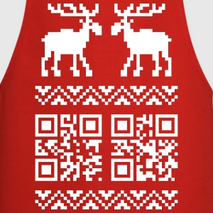 Rouge Ugly Christmas Sweater QR Code Happy New Year! Tabliers - Tablier de cuisine