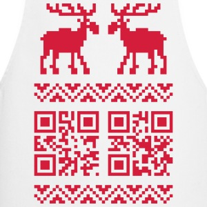 Blanc Ugly Christmas Sweater QR Code Happy New Year! Tabliers - Tablier de cuisine