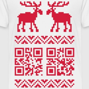 Weiß Ugly Christmas Sweater QR Code Happy New Year! T-Shirts - Kinder Premium T-Shirt