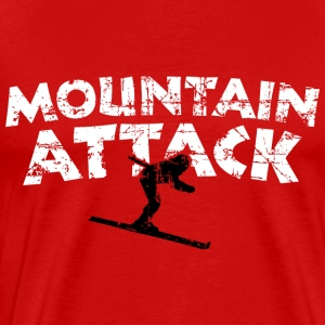 MOUNTAIN ATTACK Winter Sports Ski Design (B&W) Camisetas - Camiseta premium hombre