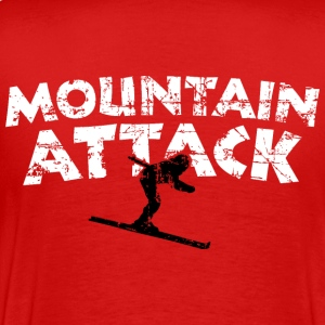 MOUNTAIN ATTACK Winter Sports Ski Design (B&W) T-shirts - Herre premium T-shirt