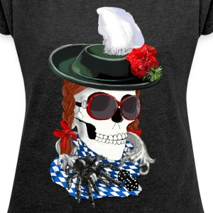 munich-skull girl T-Shirts - Women's T-shirt with rolled up sleeves