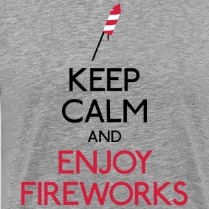 keep calm fireworks T-shirts - Herre premium T-shirt
