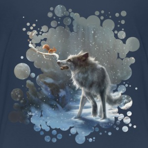 Navy winter wolf Shirts - Teenage Premium T-Shirt