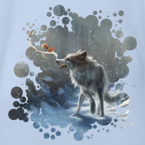 Pink winter wolf Shirts - Organic Short-sleeved Baby Bodysuit