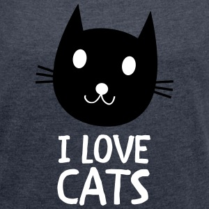I Love Cats T-Shirts - Women's T-shirt with rolled up sleeves