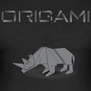 origami rhinoceros noir.png Tee shirts - Tee shirt près du corps Homme
