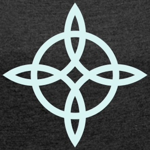 Witch`s Knot, Power of 4 elements - Binding Rune H - Women's T-shirt with rolled up sleeves