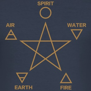 Pentagram, elements, spirit, magic icon Magliette - Maglietta aderente da uomo