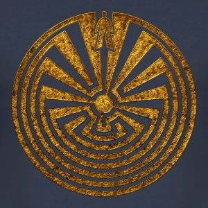 I'itoi, Man in the Maze, Indianer Symbol Labyrinth - Männer Slim Fit T-Shirt