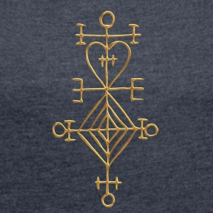 Ástarstafur, Love Charm, Magic Rune Amulet T-Shirts - Women's T-shirt with rolled up sleeves