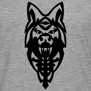 chien loup tribal tete tattoo 19092 Manches longues - T-shirt manches longues Premium Homme