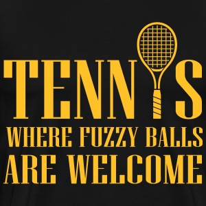 Tennis - where fuzzy balls are welcome T-shirts - Mannen Premium T-shirt