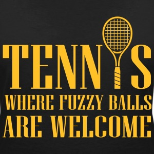 Tennis - where fuzzy balls are welcome T-shirts - Vrouwen T-shirt met V-hals