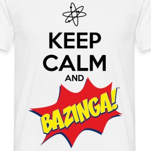 Herre T-skjorte Keep Calm Bazinga - T-skjorte for menn