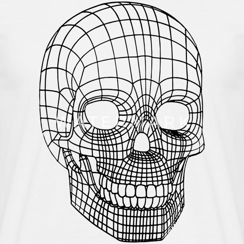 Digital Skull Wireframe Black T-Shirts - Men's T-Shirt