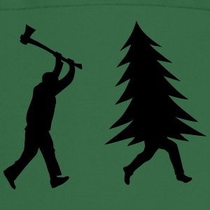 Funny Christmas tree is chased by Lumberjack  Aprons - Cooking Apron