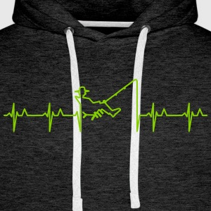Anglers Herzschlag / heart beats for fishing (1c) Pullover & Hoodies - Männer Premium Hoodie