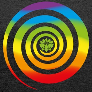 Galactic Spiral, Chakra colors, Lotus, Evolution T-Shirts - Women's T-shirt with rolled up sleeves