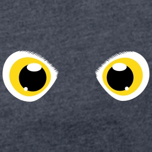 glowing eyes of a snowy owl T-Shirts - Women's T-shirt with rolled up sleeves