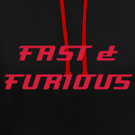 Design ~  Sweat a capuche noir interrieur rouge FAST & FURIOUS 7, swagg unique
