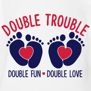 Double trouble - double fun - double love T-Shirts - Baby Bio-Kurzarm-Body