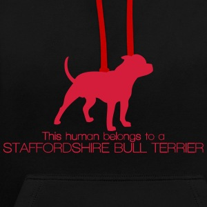 This human belongs to a Staffordshire Bull Terrier Felpe - Felpa con cappuccio bicromatica