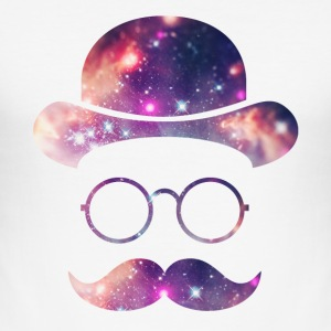 Retro Face with Moustache & Glasses / Universe  T-Shirts - Men's Slim Fit T-Shirt