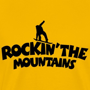 Rockin the Mountains Snowboard T-Shirt (Herren Gel - Männer Premium T-Shirt