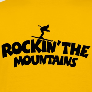 Rockin the Mountains Ski T-Shirt (Herren Gelb/Schw - Männer Premium T-Shirt
