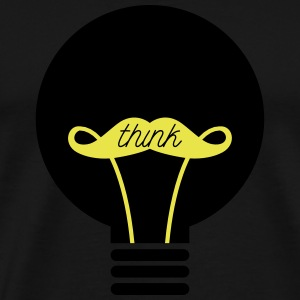 Think - Bulb - Moustache T-shirts - Herre premium T-shirt