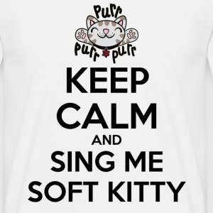 Herre T-shirt Keep Calm Sing Soft Kitty - Herre-T-shirt