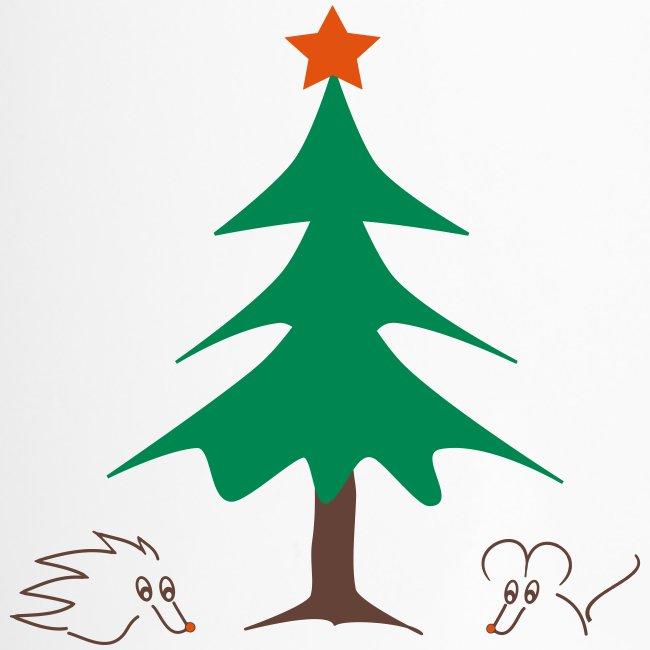 weihnachtlicher Thermobecher mit Igel und Maus, Henkel