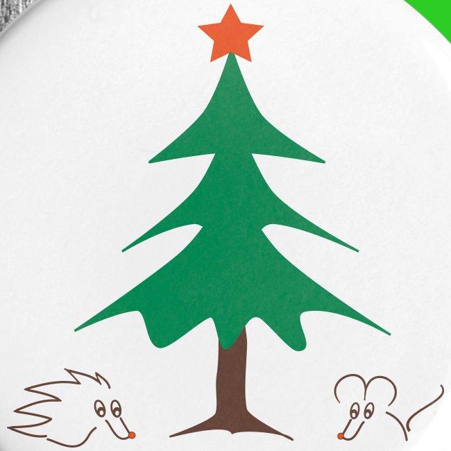 Button 25mm - Weihnachten mit Igel und Maus