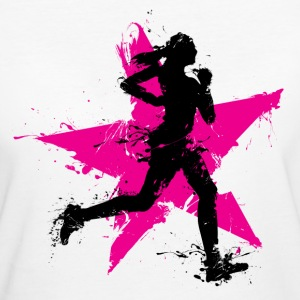runner female with star T-Shirts - Frauen Bio-T-Shirt