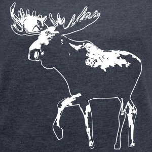 moose - elk - hunting - hunter T-Shirts - Women's T-shirt with rolled up sleeves