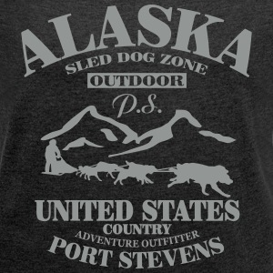 Husky - dog sled - Yukon Quest - Alaska  T-Shirts - Women's T-shirt with rolled up sleeves