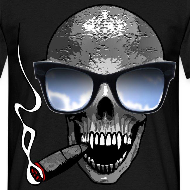Camisetas Originales Hombre Camiseta Calavera Con Gafas Y Cigarro