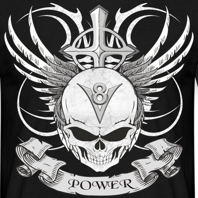 V8 Logo mit Skull im Tattoo style