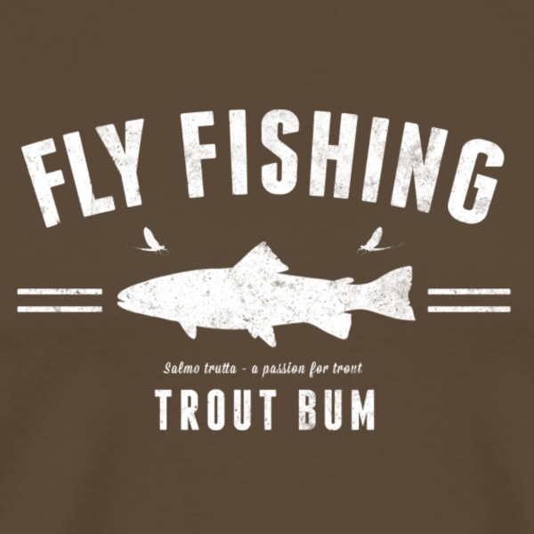 Fly fishing trout bum light brown - Premium-T-shirt herr