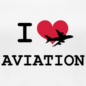 I Love Aviation [Pilot] T-shirts - Dame premium T-shirt