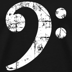 Bass Clef Symbol Vintage Music Design (White) T-Shirts